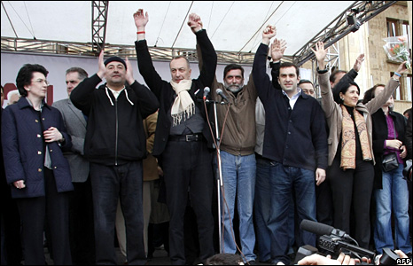 Georgian opposition leaders Nino Burjanadze (L), Levan Gachechiladze (2L), Irakly Alasania (2R), and Salome Zurabishvili (R) at the rally in Tbilisi