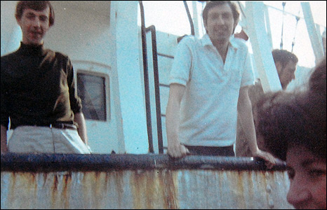 Keith Skues (top middle) aboard Radio Caroline in 1965.