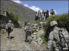 US troops patrol Naray, eastern Afghanistan, 9 April