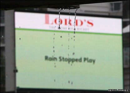 Rain drops off a stand at Lord's