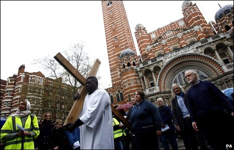 Christian pilgrims at the Good Friday procession in London