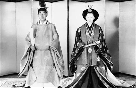 Akihito and Michiko in ceremonial dress days before their wedding