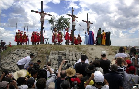 Catholic devotees reenact the crucifixion during a passion play in a village in San Fernando, the Philippines
