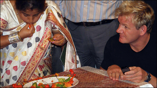 Gordon Ramsay watches on during chilli record attempt