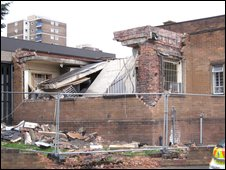 The collapsed factory building. Picture by Rowan Bridge of BBC Radio 5 Live