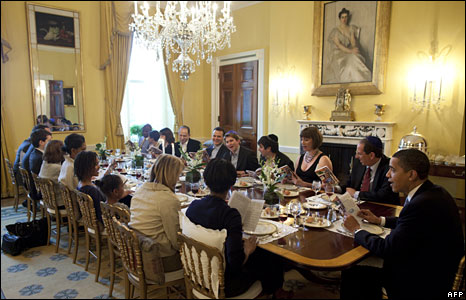 Barack Obama hosts a Seder dinner, the traditional celebration of the Jewish Passover festival, 9 April 2009 