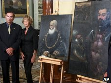 Two of the returned painting shown during a ceremony in Sacramento, California, on 10 April.