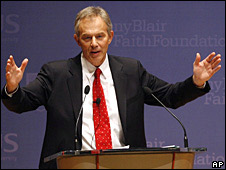 Tony Blair lectures on faith and globalisation