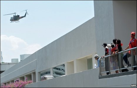 A helicopter takes off from a roof of the hotel hosting the ASEAN summit