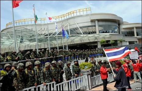 Soldiers stand guard outside the Asean venue