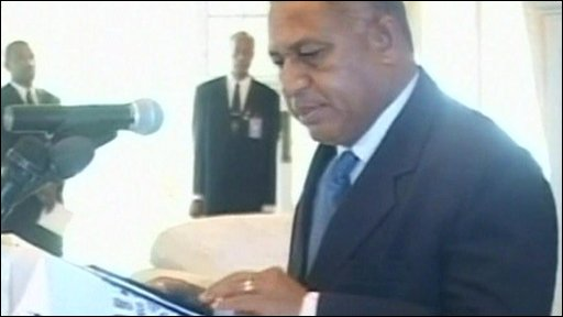 Frank Bainimarama swears in as inteim prime minister of Fiji