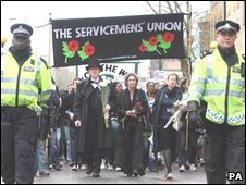 A protest from Bethnal Green Police Station in London to the Bank of England