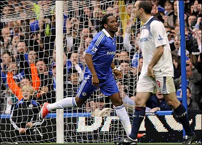 Drogba celebrates making it 2-0