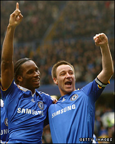 Didier Drogba and John Terry celebrate Chelsea's second goal