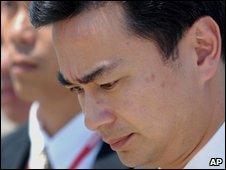 Thai PM Abhisit Vejjajiva at U-Tapao military airport, 11 April