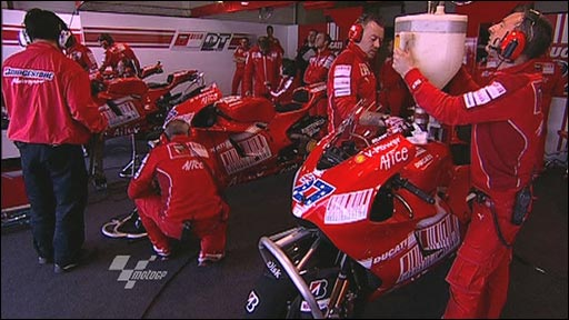 MotoGP mechanics at work