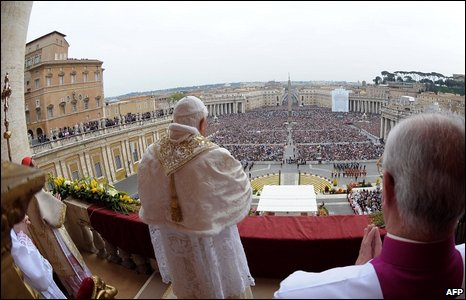 "Pope Benedict XVI delivering the traditional ""Urbi et Orbi"" (To the City and the World) Easter message from the central loggia of St Peter""s Basilica 12 April 09 at the Vatican."