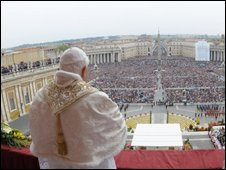 Pope Benedict XVI celebrates Easter Mass in St Peter's Square, 12 April