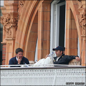 Rob Key and Michael Vaughan wait on the Lord's balcony