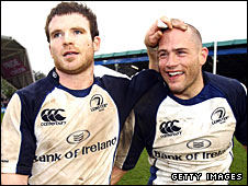 Gordon D'Arcy and Felipe Contepomi celebrate beating Harlequins