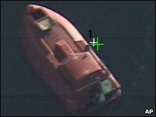 An aerial image of the hijacked lifeboat, 9 April