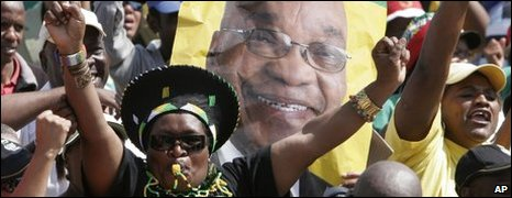 Supporters of ANC leader Jacob Zuma in Johannesburg on 6 April 2009