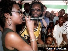 Lauryn Hill and Wyclef Jean, of The Fugees, in 1997