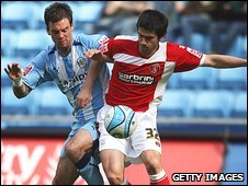 Danny Fox of Coventry challenges Danny Butterfield