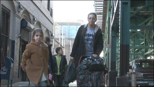 The Gonzalez family as they move to temporary accomodation