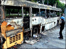 A burnt out bus in central Bangkok