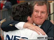 Joe Royle celebrates with match-winner Paul Rideout at the final whistle