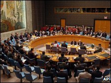"United Nations Security Council meeting on North Korea""s missile launch at the UN headquarters Monday, April 13, 2009"