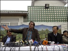 Sajad Lone and supporters in Srinagar