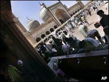 Muslims at the at the Jama Masjid mosque in Delhi