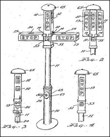 Patent drawing for Garrett A. Morgan's traffic signal