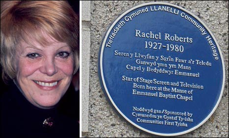 Rachel Roberts and the blue plaque on the house where she was born