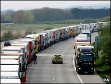 Lorries waiting on the M20 near Ashford in Kent on Tuesday