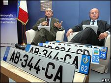Presentation of new vehicle registration plates in Paris