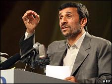 Iranian President Mahmoud Ahmadinejad, pictured on 9 April 2009
