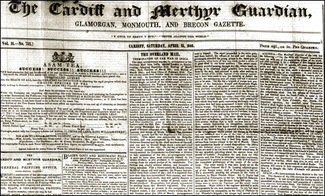 copy of the Merthyr, Cardiff Guardian - National Library of Wales