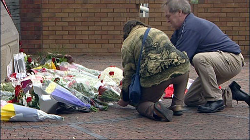 Tributes being laid at Hillsborough