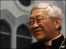 Cardinal Joseph Zen at a news conference in Hong Kong, 9 April 2009