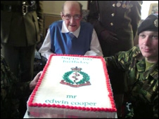 Edwin Cooper with his cake