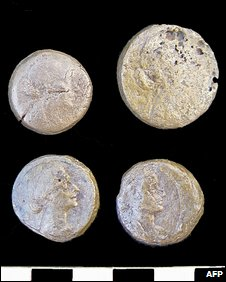 Coins bearing the image of Cleopatra and found at the temple of Taposiris Magna