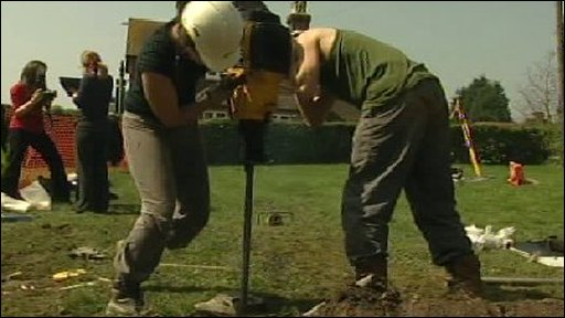 Archaeologists drilling at Bodiam