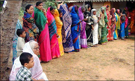 Women at a polling station in Orissa, 16 April