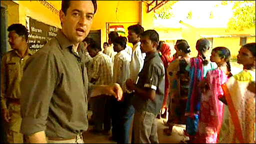 The BBC's Damian Grammaticas is at a polling station in Chhattisgarh state