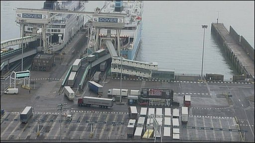 Lorries boarding a ferry at Dover