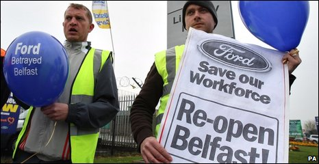 Former Visteon workers picketed Ford showrooms in the Greater Belfast area