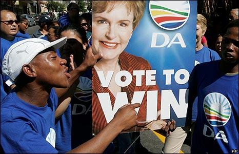 Democratic Alliance supporters holding a poster